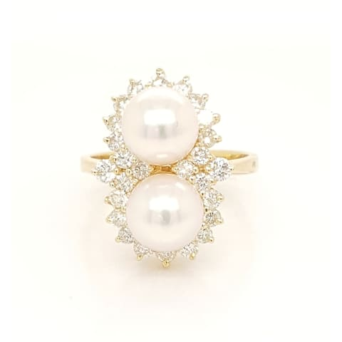 Double Pearl and Diamond Ring