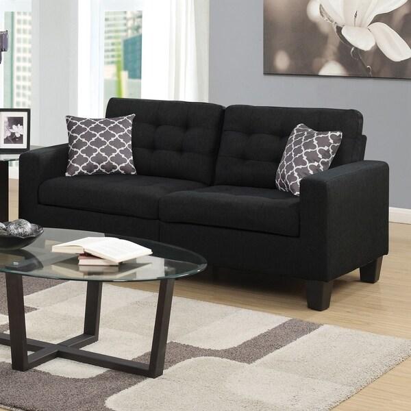 Home Source Bateson Black Tufted 2-seat Sofa