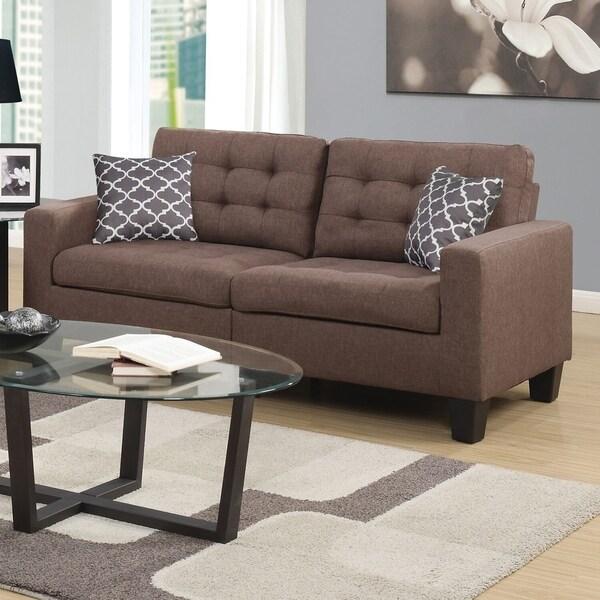 Home Source Bateson Beige Tufted 2-seat Sofa
