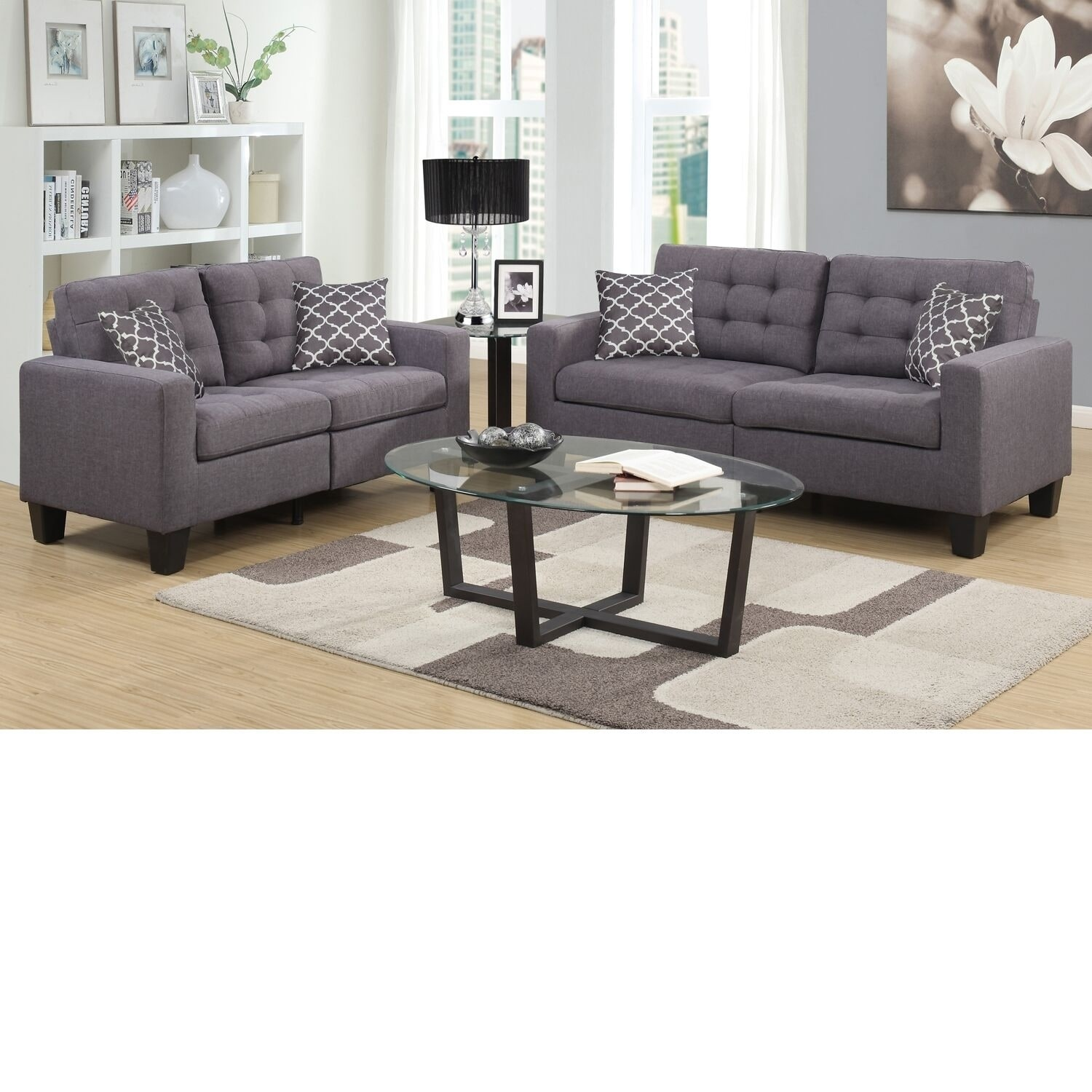 Home Source Bateson Grey 2 Piece Tufted Sofa And Loveseat Set Beige