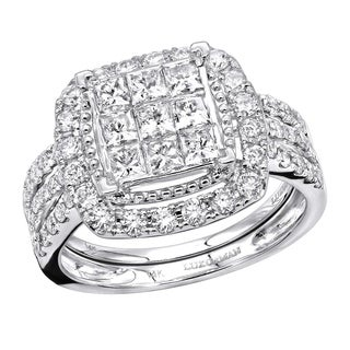 Elegant Diamond Engagement Ring Set Princess Round Cut 2 Carat 14K Gold 2ctw By Luxurman