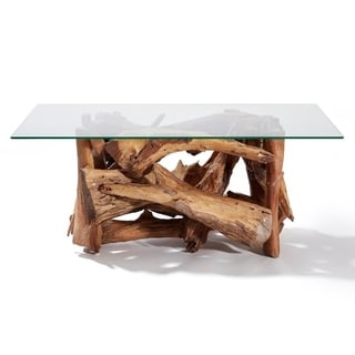 Sharan Teak Driftwood Lotus Coffee Table - 47.24 X 23.62 X 19.68