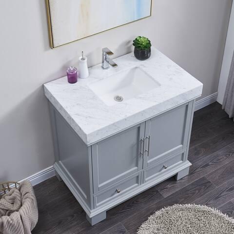 Silkroad Exclusive 36-inch Bathroom Single Vanity with Optional Ramp Sink Top