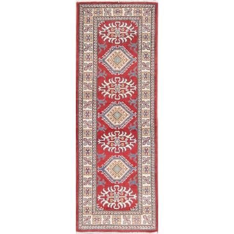 "Kazak Oriental Traditional Hand Knotted Wool Pakistani Rug - 5'10"" x 2'1"" Runner"