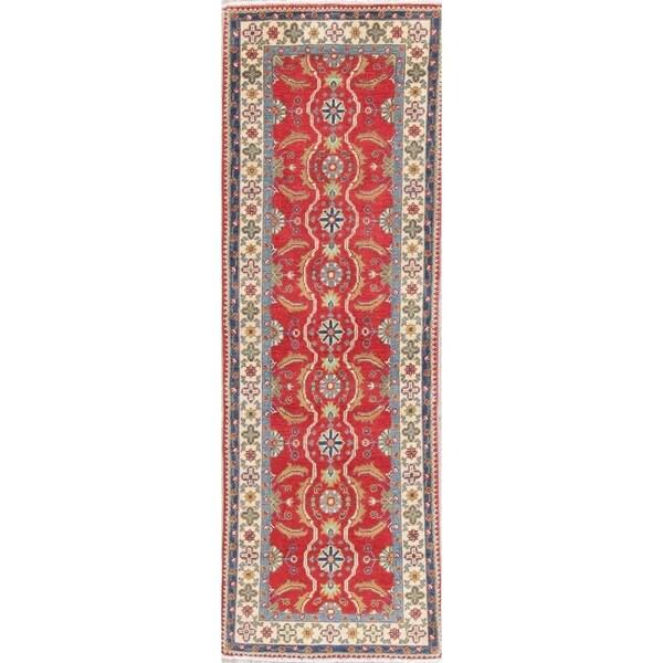 "Traditional Kazak Oriental Hand Knotted Wool Pakistani Rug - 6'1"" x 1'11"" Runner"