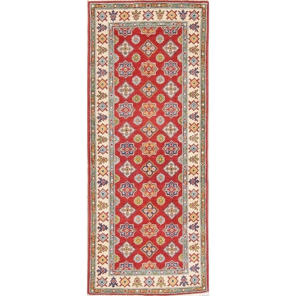 "Kazak Oriental Traditional Hand Knotted Wool Pakistani Rug - 6'7"" x 2'8"" Runner"