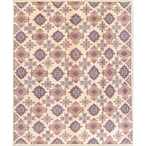 "Kazak Oriental Traditional Hand Knotted Wool & Kork Pakistani Area Rug - 9'10"" x 8'2"""