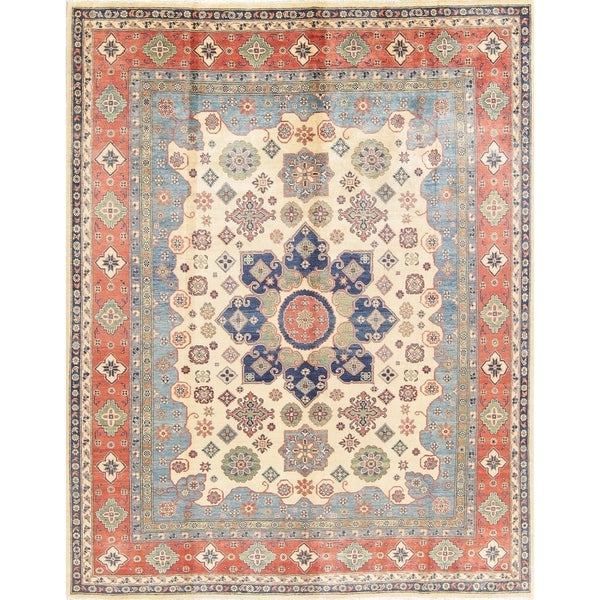 "Traditional Kazak Oriental Hand Knotted Wool Pakistani Area Rug - 9'9"" x 7'10"""