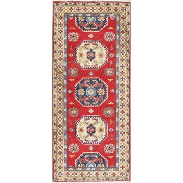 "Kazak Oriental Traditional Hand Knotted Wool Pakistani Rug - 6'5"" x 2'9"" Runner"
