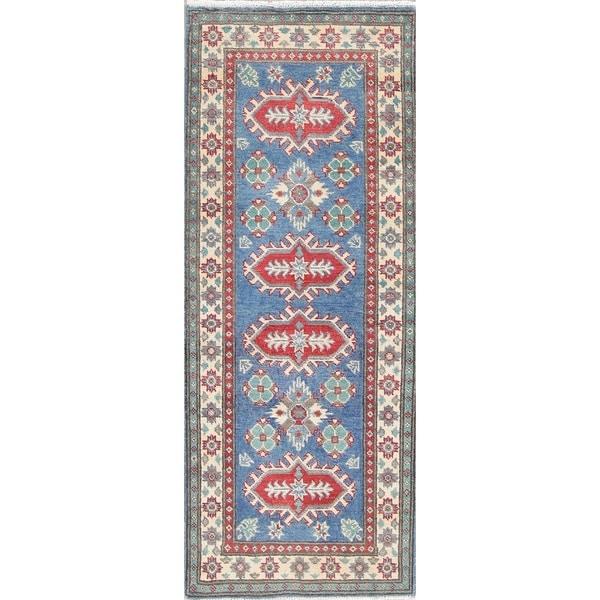 "Traditional Kazak Oriental Hand Knotted Wool Pakistani Rug - 5'2"" x 2'1"" Runner"