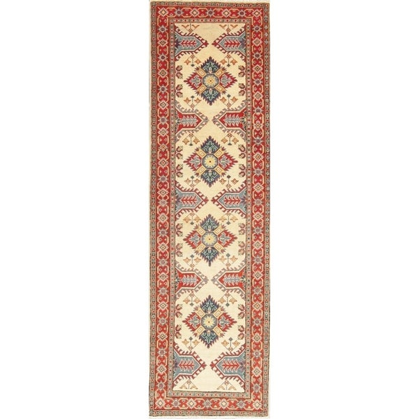 """Traditional Kazak Oriental Hand Knotted Wool Pakistani Casual Rug - 9'7"""" x 2'10"""" Runner"""