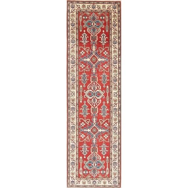 "Traditional Kazak Oriental Hand Knotted Wool Pakistani Rug - 9'6"" x 2'9"" Runner"