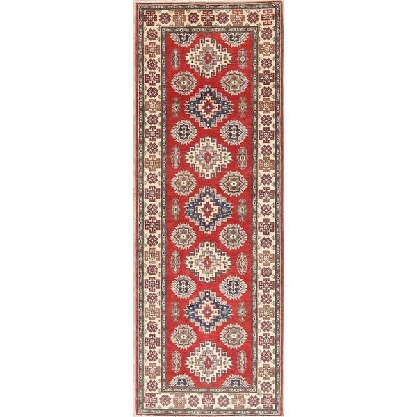 "Kazak Traditional Oriental Hand Knotted Wool Pakistani Rug - 7'11"" x 2'9"" Runner"