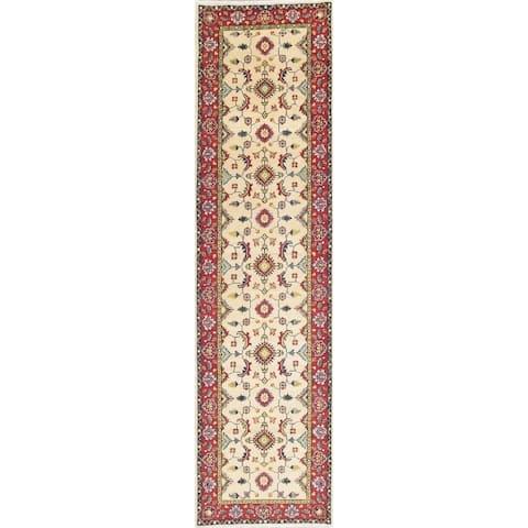 "Kazak Oriental Traditional Hand Knotted Wool Pakistani Rug - 10'2"" x 2'9"" Runner"
