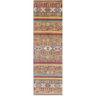 "Kazak Southwestern Oriental Hand Knotted Wool Pakistani Rug - 8'8"" x 2'8"" Runner"