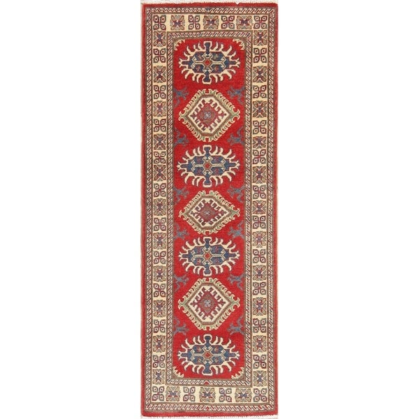"Kazak Oriental Hand Knotted Wool Pakistani Traditional Rug - 6'0"" x 1'11"" Runner"