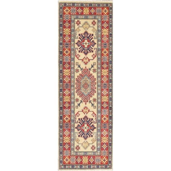 "Kazak Traditional Oriental Hand Knotted Wool Pakistani Rug - 6'5"" x 2'1"" Runner"