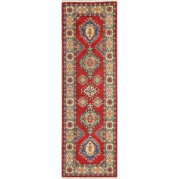 "Kazak Oriental Hand Knotted Wool Pakistani Traditional Rug - 6'4"" x 2'0"" Runner"