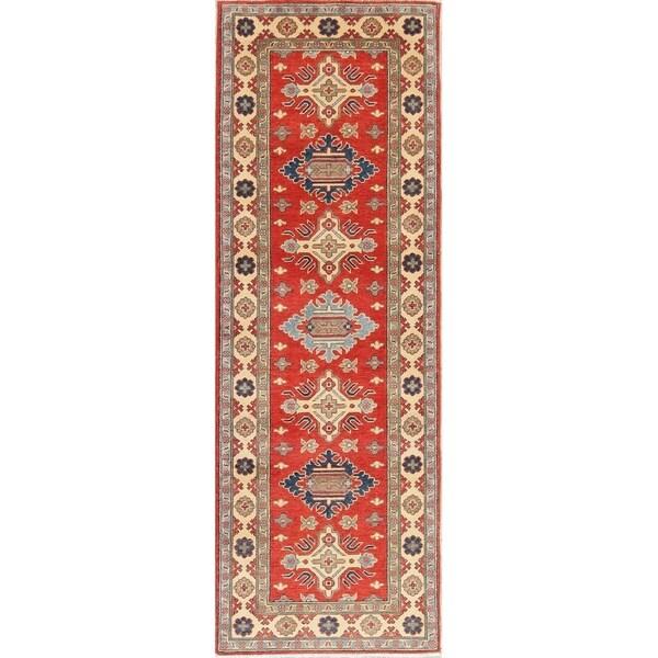 "Kazak Traditional Oriental Hand Knotted Wool Pakistani Rug - 8'2"" x 2'10"" Runner"