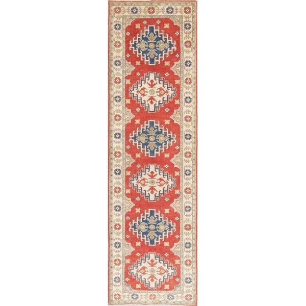 "Kazak Oriental Hand Knotted Wool Pakistani Traditional Rug - 9'2"" x 2'8"" Runner"