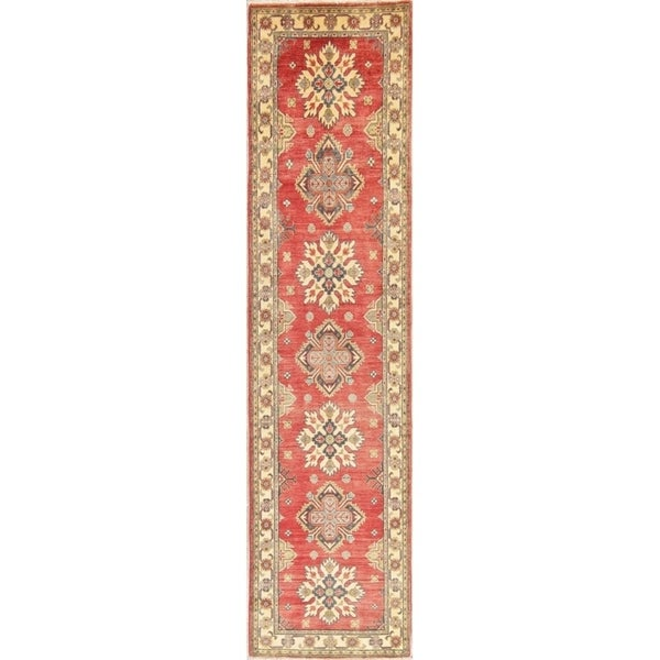 "Kazak Oriental Hand Knotted Wool Pakistani Traditional Rug - 10'7"" x 2'7"" Runner"