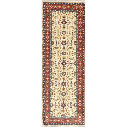 "Kazak Traditional Oriental Hand Knotted Wool Pakistani Rug - 6'0"" x 2'1"" Runner"
