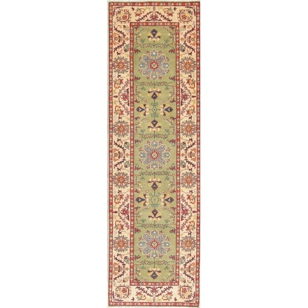 "Traditional Kazak Oriental Hand Knotted Wool Pakistani Rug - 9'8"" x 2'11"" Runner"