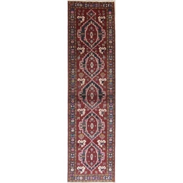 "Vintage Ardebil Oriental Hand Knotted Wool Persian Rug - 12'9"" x 3'4"" Runner"