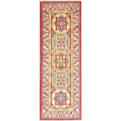 "Kazak Traditional Oriental Hand Knotted Wool Pakistani Rug - 5'10"" x 2'0"" Runner"
