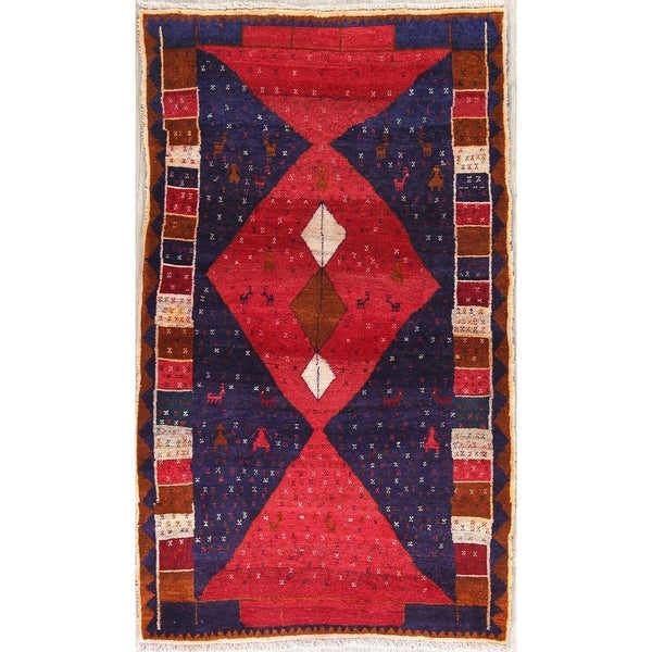 """Qashqai Tribal Oriental Hand Knotted Wool Persian Area Rug - 5'10"""" x 3'5"""""""