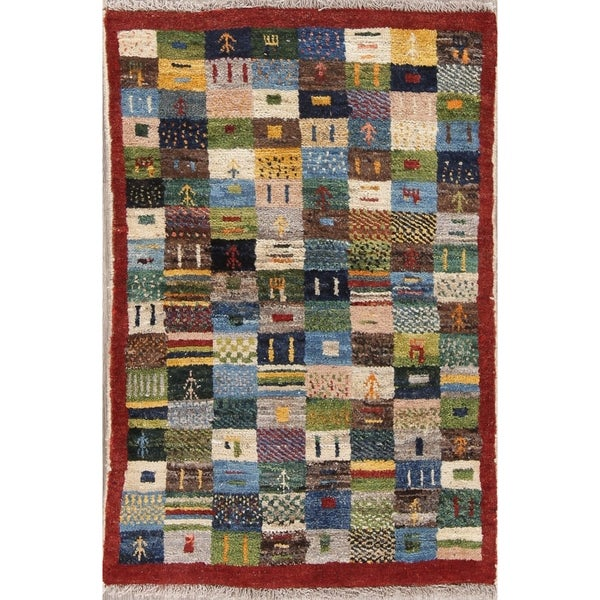 """Gabbeh Tribal Patchwork Hand Knotted Wool Persian Area Rug - 3'11"""" x 2'10"""""""