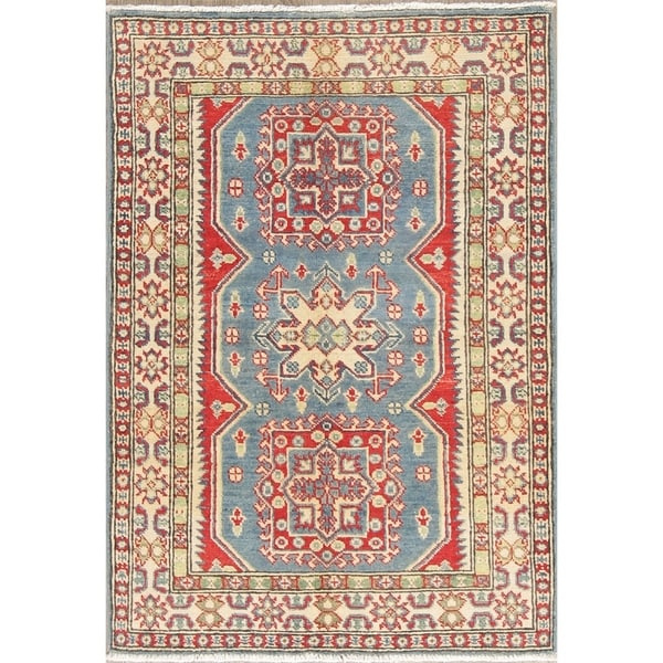 "Traditional Kazak Oriental Hand Knotted Wool Pakistani Area Rug - 4'0"" x 2'10"""