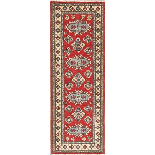 "Kazak Traditional Oriental Hand Knotted Wool Pakistani Rug - 6'1"" x 2'1"" Runner"