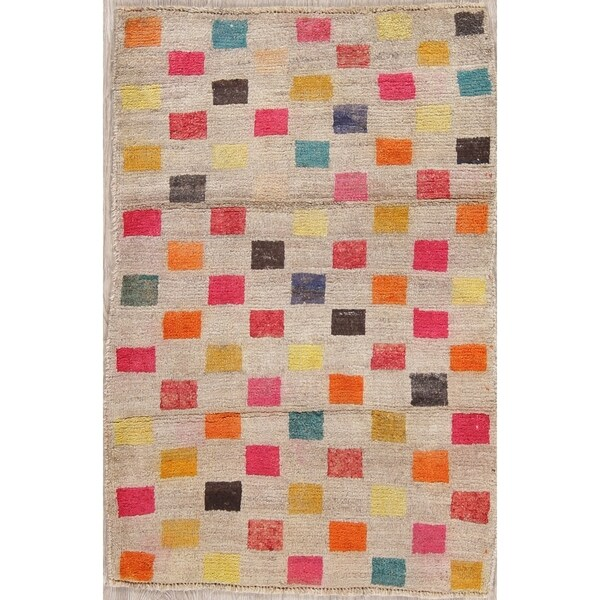 """Vintage Gabbeh Checkered Hand Knotted Wool Persian Area Rug - 4'2"""" x 2'9"""""""