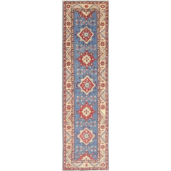 "Kazak Oriental Hand Knotted Wool Pakistani Traditional Rug - 9'8"" x 2'7"" Runner"