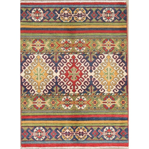 "Traditional Kazak Oriental Hand Knotted Wool Pakistani Area Rug - 4'0"" x 2'10"""