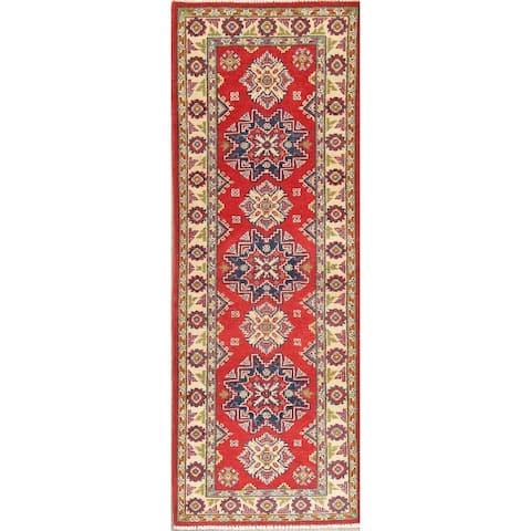 "Kazak Oriental Hand Knotted Wool Pakistani Traditional Rug - 6'1"" x 2'2"" Runner"