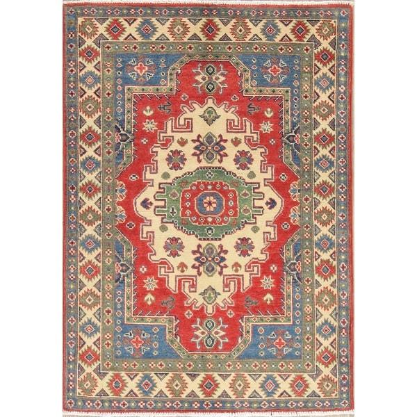 "Traditional Kazak Oriental Hand Knotted Wool Pakistani Area Rug - 4'8"" x 3'4"""