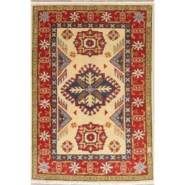 "Traditional Kazak Oriental Hand Knotted Wool Pakistani Casual Area Rug - 4'0"" x 2'8"""