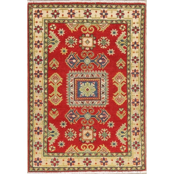 "Traditional Kazak Oriental Hand Knotted Wool Pakistani Area Rug - 3'10"" x 2'8"""