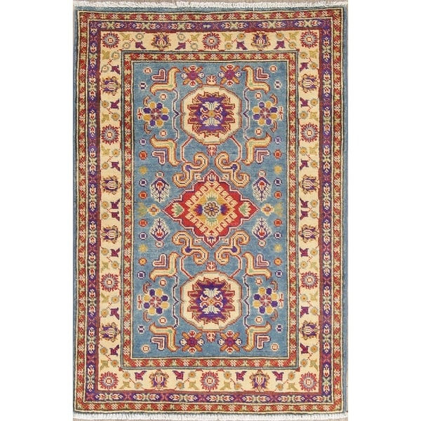 "Traditional Kazak Oriental Hand Knotted Wool Pakistani Area Rug - 4'1"" x 2'8"""