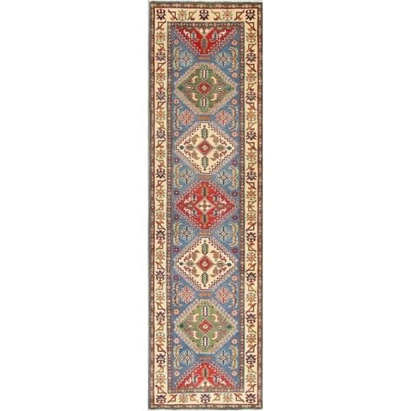 "Traditional Kazak Oriental Diamond Hand Knotted Wool Pakistani Rug - 9'7"" x 2'8"" Runner"