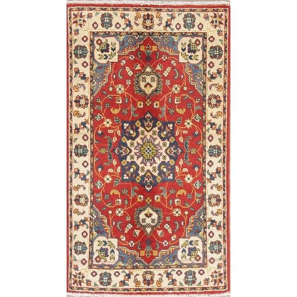 """Kazak Medallion Oriental Handmade Wool Pakistani Traditional Area Rug - 4'0"""" x 2'7"""""""