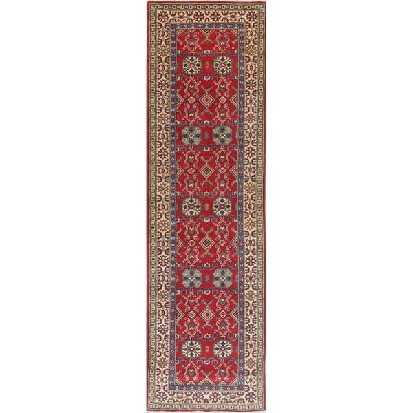 "Traditional Kazak Oriental Hand Knotted Wool Pakistani Rug - 9'9"" x 2'10"" Runner"