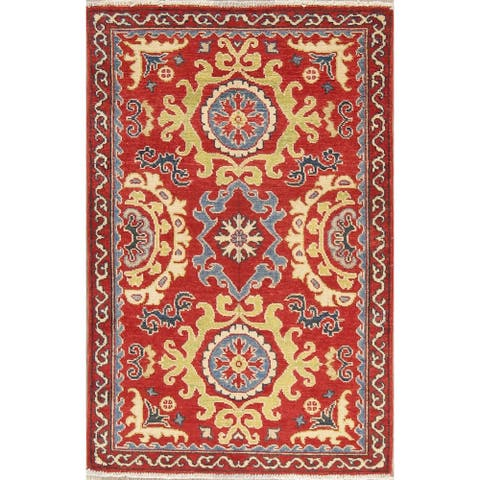 "Kazak Oriental Hand Knotted Wool Pakistani Traditional Area Rug - 4'3"" x 2'9"""