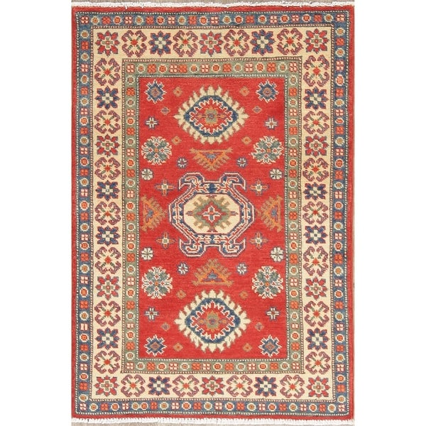 "Traditional Kazak Oriental Hand Knotted Wool Pakistani Area Rug - 3'11"" x 2'9"""