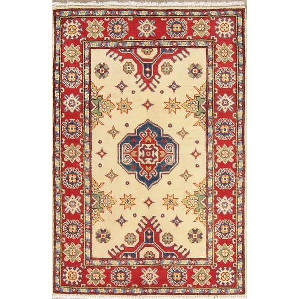 "Kazak Oriental Hand Knotted Wool Pakistani Traditional Area Rug - 4'2"" x 2'10"""
