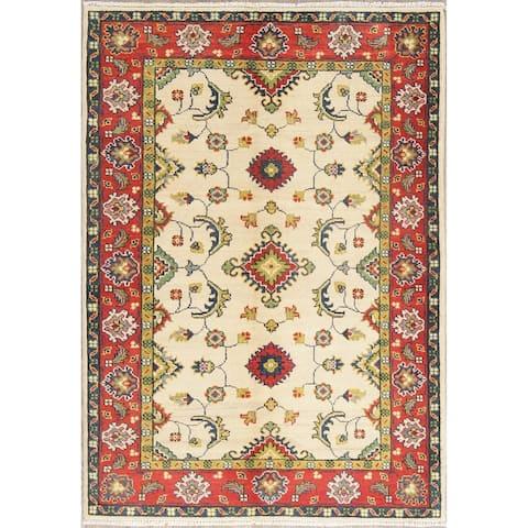 "Kazak Oriental Hand Knotted Wool Pakistani Traditional Area Rug - 4'10"" x 3'5"""