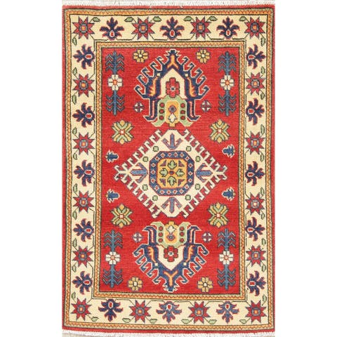 "Kazak Oriental Hand Knotted Wool Pakistani Traditional Area Rug - 4'0"" x 2'8"""