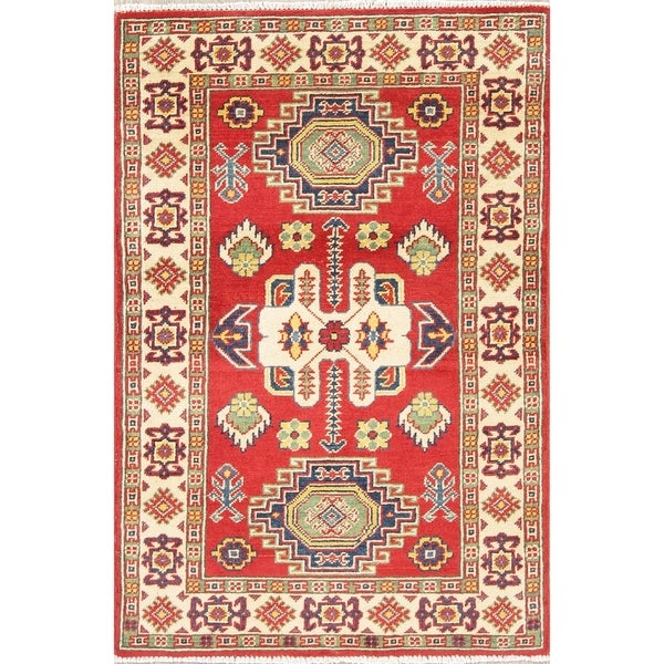 "Kazak Oriental Hand Knotted Wool Pakistani Traditional Area Rug - 3'11"" x 2'7"""